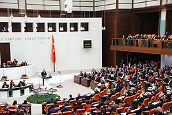 October 1, 2018 - Ankara, Turkey - Turkey's President Recep Tayyip Erdogan talks to members of the parliament during the opening session of the new legislative year, in Ankara, Turkey, Monday, Oct. 1, 2018. (Credit Image: © Depo Photos via ZUMA Wire)