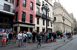 A general view of fans outside a pub prior to the Nations League match at Benito Villamarin Stadium, Seville.