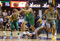 Mar 7, 2020; Morgantown, West Virginia, USA; Baylor Bears guard Mark Vital (11) passes the ball during the first half against the West Virginia Mountaineers at WVU Coliseum. Mandatory Credit: Ben Queen-USA TODAY Sports