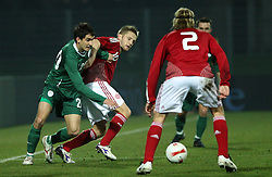 Branko Ilic of Slovenia (20) and Jorgensen Martin of Denmark during the UEFA Friendly match between national teams of Slovenia and Denmark at the Stadium on February 6, 2008 in Nova Gorica, Slovenia. Slovenia lost 2:1. (Photo by Vid Ponikvar / Sportal Images).