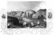 Crimean (Russo-Turkish) War 1853-1856.  British Guards regiment working in the trenches during the allied siege of Sebastopol, 17 October 1854, 8-9 September 1855. Steel engraving.