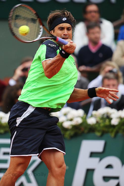 Paris, France. Roland Garros. June 9th 2013.<br /> Men's final. <br /> Spanish player David FERRER against Rafael NADAL.