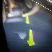 Motosalone Eicma edizione 2012: simulazione di guida in stato di ebbrezza nello stand della Polizia Stradale. Un paio d'occhiali speciali riproducono la percezione otttica alterata dall'alcol. La foto mostra come vediamo cun un tasso alcolico di 1,2.  ..International Motorcycle Exhibition 2012: A drive simulation under drunkenness state in the stand of Traffic Police. A special glasses reproducing the optic perception altered by alcohol. The picture showing how we see with a alcohol rate of 1,2.