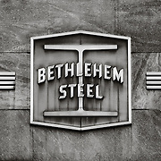 The Bethlehem Steel logo as it hangs over the entrance to the main office building. Most of the photography in this gallery were made in 2006, the year before construction started on the casino which now occupies part of the Bethlehem Steel site.