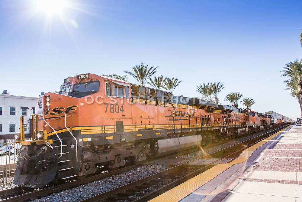 BNSF Railroad Train Stopped at Fullerton Transportation Center
