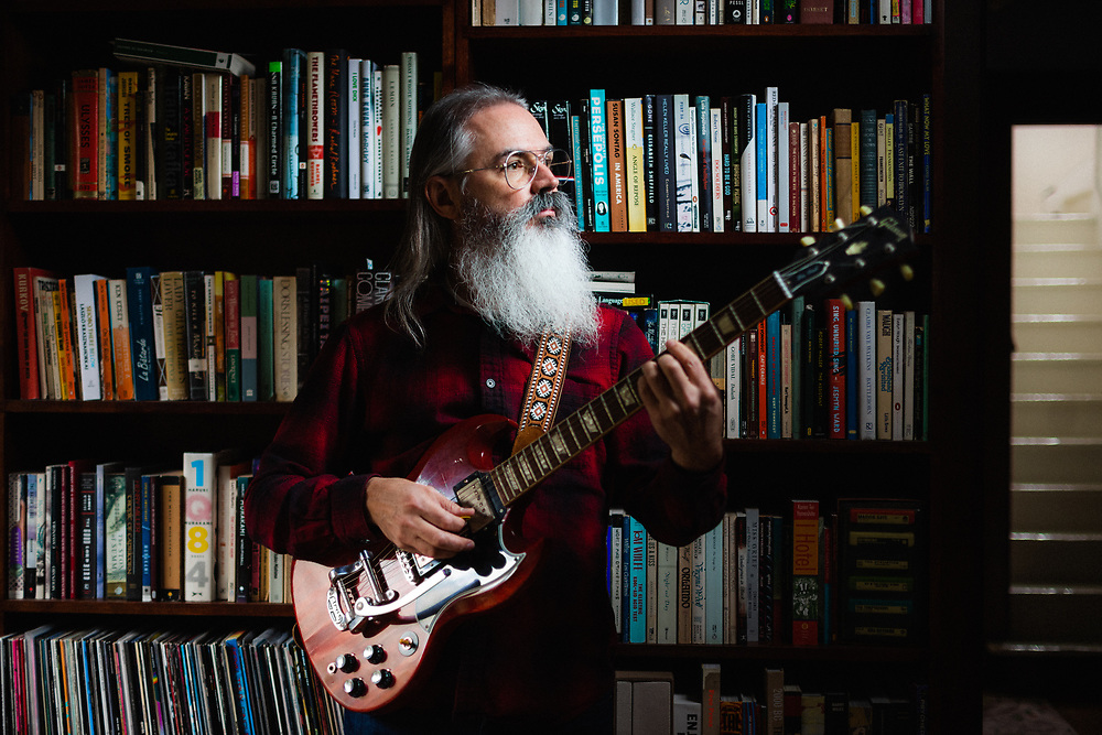 Ripley Johnson, photographed at home for his Rose City Band project, Jan 2020. Photo by Jason Quigley.