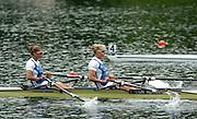 FISA World Cup Regatta Lucerne.19.06.2004.Day Two..Bow, Elise Laverick and Sarak Winckless *** Local Caption *** © Peter Spurrier Intersport-Images Tel.+44 7973 819 551.Elise Laverick [left] and Sarak Winckless right. Rowing Course, Lake Rottsee, Lucerne, SWITZERLAND. [Mandatory Credit: Peter Spurrier: Intersport Images]