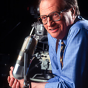 Larry King on the set of his CNN show, Larry King Live, in Los Angeles.