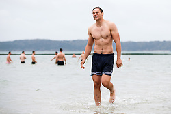 Sam Jeffries looks on as Bristol Rugby take part in a morning after game recovery session in the sea - Rogan/JMP - 29/10/2017 - RUGBY UNION - Jersey Marine Lake - St Helier, Jersey - Jersey Reds v Bristol Rugby - Greene King IPA Championship.