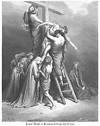 Jesus' body is removed from the Cross (or The Descent From the Cross) [Matthew 27:57-58] From the book 'Bible Gallery' Illustrated by Gustave Dore with Memoir of Dore and Descriptive Letter-press by Talbot W. Chambers D.D. Published by Cassell & Company Limited in London and simultaneously by Mame in Tours, France in 1866