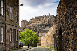 View of Edinburgh Castle from Flodden Wall in Edinburgh, Scotland, UK
