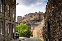 View of Edinburgh Castle from Flodden Wall in Edinburgh, Scotland, UK
