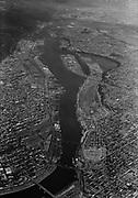 "Ackroyd 08443-1. ""Commission of Public Docks. Lower harbor aerial. July 15, 1958"" (Willamette river) (5x7)"