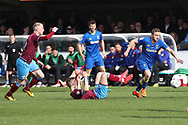 AFC Wimbledon midfielder Dean Parrett (18) winning the ball during the EFL Sky Bet League 1 match between AFC Wimbledon and Scunthorpe United at the Cherry Red Records Stadium, Kingston, England on 7 April 2018. Picture by Matthew Redman.