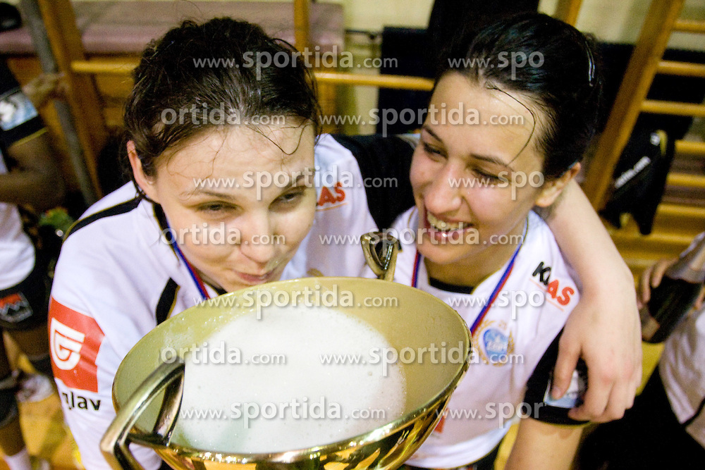Andrea Lekic of Krim (R) and Cvijic Dragana of Krim drinking champagne from cup at last 10th Round handball match of Slovenian Women National Championships between RK Krim Mercator and RK Olimpija, on May 15, 2010, in Galjevica, Ljubljana, Slovenia. Olimpija defeated Krim 39-36, but Krim became Slovenian National Champion. (Photo by Vid Ponikvar / Sportida)