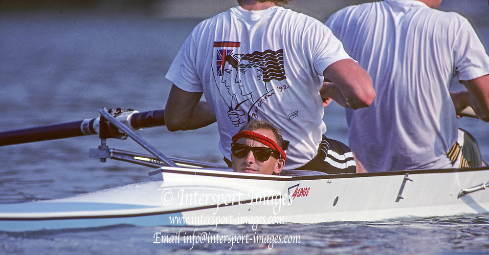 Barcelona, SPAIN. Gold Medalist, GBR M2+, Bow Jonny SEARLE and Greg SEARLE with cox, Gary HERBERT.  move into the awards dock. 1992 Olympic Rowing Regatta Lake Banyoles, Catalonia [Mandatory Credit Peter Spurrier/ Intersport Images] Last time Men's coxed pair raced at the Olympics,