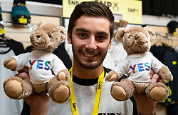 Edinburgh, Scotland, UK. 28 April, 2019. Day 2 of thee SNP ( Scottish National Party) Spring Conference takes place at the EICC ( Edinburgh International Conference Centre) in Edinburgh. Pictured; YES teddy bears for sale at SNP gift shop