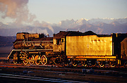 Steam locomotive at sunrise, Jiayuguan station.