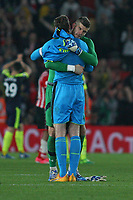 Football - 2016 / 2017 Premier League - Southampton vs. Arsenal<br /> <br /> Southampton's Fraser Forster and Petr Cech of Arsenal swap shirts at the final whistle at St Mary's Stadium Southampton<br /> <br /> COLORSPORT/SHAUN BOGGUST