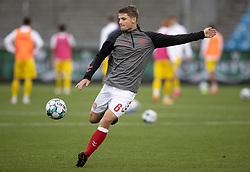 Jacob Lungi Sørensen (Danmark) under opvarmningen til U21 EM2021 Kvalifikationskampen mellem Danmark og Ukraine den 4. september 2020 på Aalborg Stadion (Foto: Claus Birch).