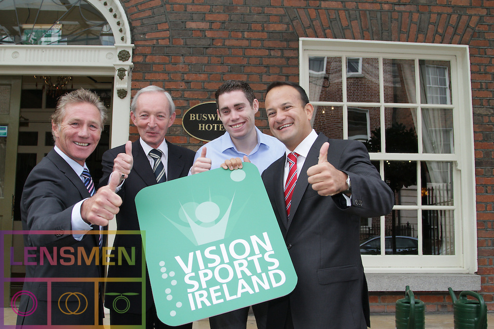 """PRESS RELEASE. <br />Jason Smyth and Minister Leo Varadkar launch Vision Sports Ireland.  <br />Thursday, 19 September, Dublin.<br /> Four time Paralympic gold medallist and World Champion, Jason Smyth, and Minister for Transport, Tourism & Sport, Leo Varadkar, today launched Vision Sports Ireland at a reception in central Dublin. Formerly Irish Blind Sports, the organisation has been renamed and rebranded to mark its 25th anniversary and to reflect the needs of its members. <br /><br />Pictured at the  launched Vision Sports Ireland at a reception in central Dublin. Formerly Irish Blind Sports, the organisation has been renamed and rebranded to mark its 25th anniversary and to reflect the needs of its members.<br /> Were life to right<br />Senator Eamonn Coghlan.<br />Robert Dobbyn, Chairperson Vision Sports Ireland.<br />Jason Smyth, Paralympic Double Gold Sprinter.<br />Minister Leo Varadkar.<br /><br />Speaking at the opening Minister Varadkar said: """"This is the start of a new era for vision impaired sports people in Ireland and I congratulate Vision Sports Ireland for reaching out to the community. Sport can, and should, be open to everyone, and I know that this organisation is striving to provide access to activities right across the country. The Government continues to support this area and awarded €36,000 to Vision Sports Ireland through the Sports Council this year, in addition to support for elite athletes through Paralympics Ireland.""""<br />Vision Sports Ireland assists vision impaired people in Ireland, of all ages, to access sports at all levels, from leisure to elite, in their own communities where possible. The Organisation offers a range of sports, including tandem cycling, football, swimming, golf and athletics and hosts, both,  national and international competitions. <br />Senator Eamonn Coghlan, a valued supporter of Vision Sports Ireland, former three time Olympian and World athletics 5000m champion,  presided over the event declaring in his open"""
