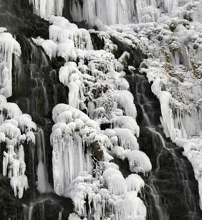 Licensing - Open Edition Prints  Black and White.<br /> Thousand Springs Preserve near Hagerman along the Snake River in Southern Idaho is frozen solid with ice and winter temperatures close up detail
