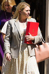 London, June 20th 2017. Secretary of State for Culture, Media and Sport Karen Bradley leaves the weekly cabinet meeting at 10 Downing Street in London.