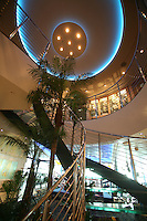 Royal Caribbean International's  Independence of the Seas, the world?s largest cruise ship. ..Interior and exterior features photos...Spiral stairs leading up to the beauty spa. *** Local Caption *** Spiral stairs leading up to the beauty spa.