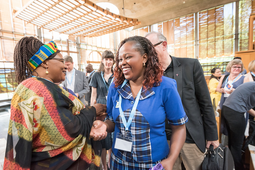 """30 June 2018, Geneva, Switzerland: Morning prayers. The 2018 LWF Council meeting takes place in Geneva from 27 June - 2 July. The theme of the Council  is """"Freely you have received, freely give"""" (Matthew 10:8, NIV). The LWF Council meets yearly and is the highest authority of the LWF between assemblies. It consists of the President, the Chairperson of the Finance Committee, and 48 members from LWF member churches in seven regions."""