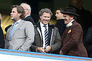 Hollywood actor Will Ferrel (centre) and John C. Reilly (right) laughing from the stands after full time. Premier league match, Chelsea v Arsenal at Stamford Bridge in London on Saturday 4th February 2017.<br /> pic by John Patrick Fletcher, Andrew Orchard sports photography.