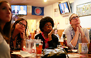 10192016 - Bloomington, Indiana. Viewers react during a debate watch party organized by the Monroe County Democrats at Opie Taylor's hamburger restaurant. It was the  third and final 2016 Presidential Debate that pitting Republican Donald Trump against Democrat Hillary Clinton. (Jeremy Hogan/Polaris)