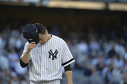 October 18, 2017 - Bronx, NY, USA - New York Yankees starting pitcher Masahiro Tanaka on the mound against the Houston Astros in Game 5 of the American League Championship Series at Yankee Stadium in New York on Wednesday, Oct. 18, 2017. (Credit Image: © Howard Simmons/TNS via ZUMA Wire)