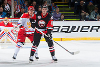 KELOWNA, CANADA - NOVEMBER 9: Brett Pollock #39 of Team WHL looks for the pass against the Team Russia on November 9, 2015 during game 1 of the Canada Russia Super Series at Prospera Place in Kelowna, British Columbia, Canada.  (Photo by Marissa Baecker/Western Hockey League)  *** Local Caption *** Brett Pollock;