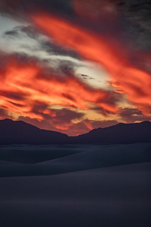 Dramatic Sunset at White Sands National Monument in New Mexico. ©justinalexanderbartels.com