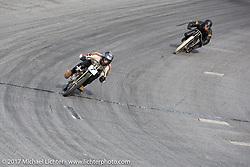 Moonshiner Josh Owens just ahead of Matt Harris at Billy Lane's Sons of Speed vintage motorcycle racing during Biketoberfest. Daytona Beach, FL, USA. Saturday October 21, 2017. Photography ©2017 Michael Lichter.