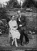 Erskine Childers, minister for Posts and Telegraphs with fiance, Miss Rita Dudley<br /> 22/08/1952<br /> <br /> Erskine Hamilton Childers (11/12/1905 – 17/11/1974) served as the fourth President of Ireland from 1973 until his death in 1974.  He was a TD from 1938 until 1973. He was appointed Tánaiste in 1969.<br />