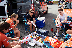 Rally UHC Cycling team meeting at GP de Plouay - Lorient Agglomération Trophée WNT, a 128 km road race in Plouay, France on August 31, 2019. Photo by Sean Robinson/velofocus.com