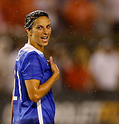 CHATTANOOGA, TN - AUGUST 19:  Midfielder Carli Lloyd #10 of the United States reacts after an offsides call during the friendly match against Costa Rica at Finley Stadium on August 19, 2015 in Chattanooga, Tennessee.  (Photo by Mike Zarrilli/Getty Images)
