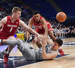 December 4, 2017 - University Park, PA, USA - Penn State forward John Harrar reacts after falling to the ground during a game against Wisconsin on Monday, Dec. 4, 2017 at the Bryce Jordan Center in University Park, Pa. (Credit Image: © Phoebe Sheehan/TNS via ZUMA Wire)