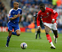 Photo: Steve Bond.<br />Leicester City v Barnsley. Coca Cola Championship. 27/10/2007. Kayode Odejayi (L) charges through the middle