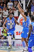 DESCRIZIONE : Campionato 2014/15 Dinamo Banco di Sardegna Sassari - Olimpia EA7 Emporio Armani Milano Playoff Semifinale Gara3<br /> GIOCATORE : Shane Lawal Jeff Brooks<br /> CATEGORIA : Ritratto Esultanza<br /> SQUADRA : Dinamo Banco di Sardegna Sassari<br /> EVENTO : LegaBasket Serie A Beko 2014/2015 Playoff Semifinale Gara3<br /> GARA : Dinamo Banco di Sardegna Sassari - Olimpia EA7 Emporio Armani Milano Gara4<br /> DATA : 02/06/2015<br /> SPORT : Pallacanestro <br /> AUTORE : Agenzia Ciamillo-Castoria/L.Canu