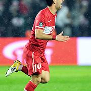 Turkey's Arda TURAN celebrate his goal during their UEFA EURO 2012 Qualifying round Group A soccer match Turkey betwen Austria at Sukru Saracoglu stadium in Istanbul March 29, 2011. Photo by TURKPIX