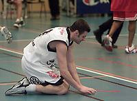 Basket - KB Tigers - Centrum Tigers - Igor Ruzic fortviller etter bom i sluttsekundende. Pirats tapte med et poeng. (Foto: Andreas Fadum, Digitalsport)