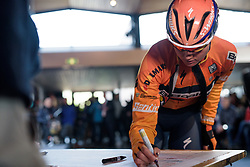 Defending champion, Chantal Blaak signs in at Ronde van Drenthe 2017. A 152 km road race on March 11th 2017, starting and finishing in Hoogeveen, Netherlands. (Photo by Sean Robinson/Velofocus)