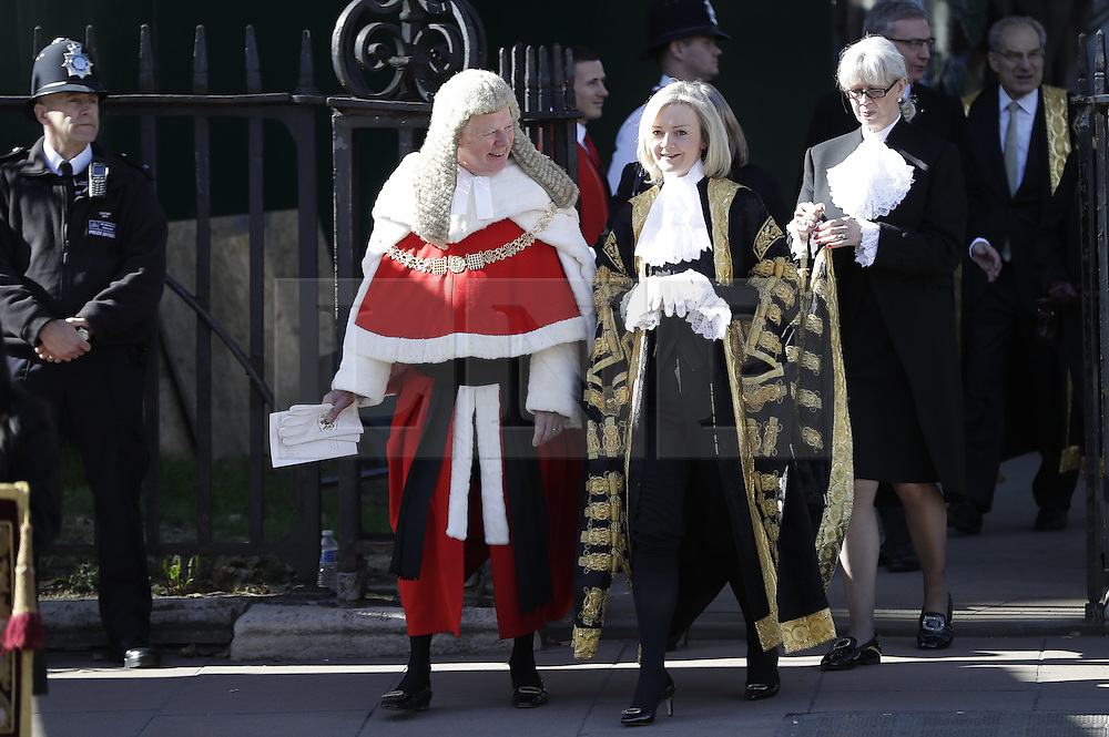 © Licensed to London News Pictures. 03/10/2016. London, UK. The Lord Chancellor and Secretary of State for Justice Liz Truss walks to Parliament after attending the annual Judges Service at Westminster Abbey. The Service heralds the start of the legal year in the United Kingdom The fourth term of the legal year, known as Michaelmas term. Photo credit: Peter Macdiarmid/LNP