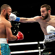 HOLLYWOOD, FL - APRIL 17:  Arthur Biyarslanov punches  Israel Mercado in the face at Seminole Hard Rock Hotel & Casino on April 17, 2021 in Hollywood, Florida. (Photo by Alex Menendez/Getty Images) *** Local Caption *** Arthur Biyarslanov; Israel Mercado