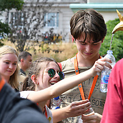 Thristy tourists filling water at Green Park water fountian in London, UK on July 1st 2018.