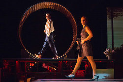 "© Licensed to London News Pictures. 09/01/2014. London, England. Pictured: Mitia Fedontenko and Elise Legros. UK Premiere of Compagnie MPTA/Mathurin Bolze ""A Bas Bruit"" at the Linbury Studio Theatre, Royal Opera House, as part of the 2014 London International Mime Festival. Video, dance and circus come together in this show performed by Mitia Fedontenko, Elise Legros and Cyrille Musy. Photo credit: Bettina Strenske/LNP"