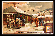 Typical late 19th century Russian village in winter. On the left is a troika, a sledge drawn by three horses abreast.  From a Liebig trade card circa 1900. Chromolithograph.