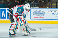 KELOWNA, CANADA - APRIL 8: Michael Herringer #30 of the Kelowna Rockets stands on the ice against the Portland Winterhawks on April 8, 2017 at Prospera Place in Kelowna, British Columbia, Canada.  (Photo by Marissa Baecker/Shoot the Breeze)  *** Local Caption ***